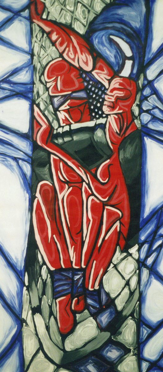 The image shows a piece of artwork by Jina Wallwork. It is a painting of two people. Stylistically this piece of artwork has links with expressionism.