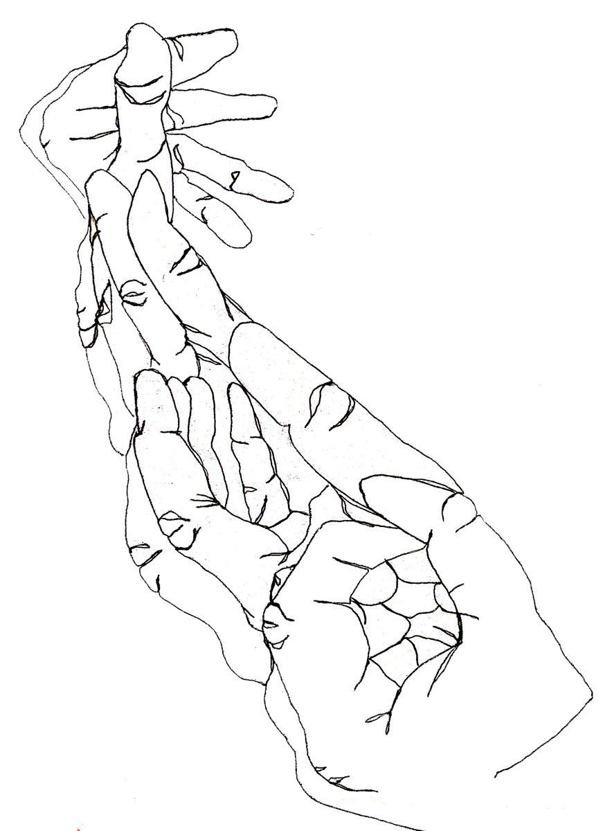 The image shows a piece of artwork by Jina Wallwork. It is a drawing of hands. Stylistically this piece of artwork has links with expressionism.