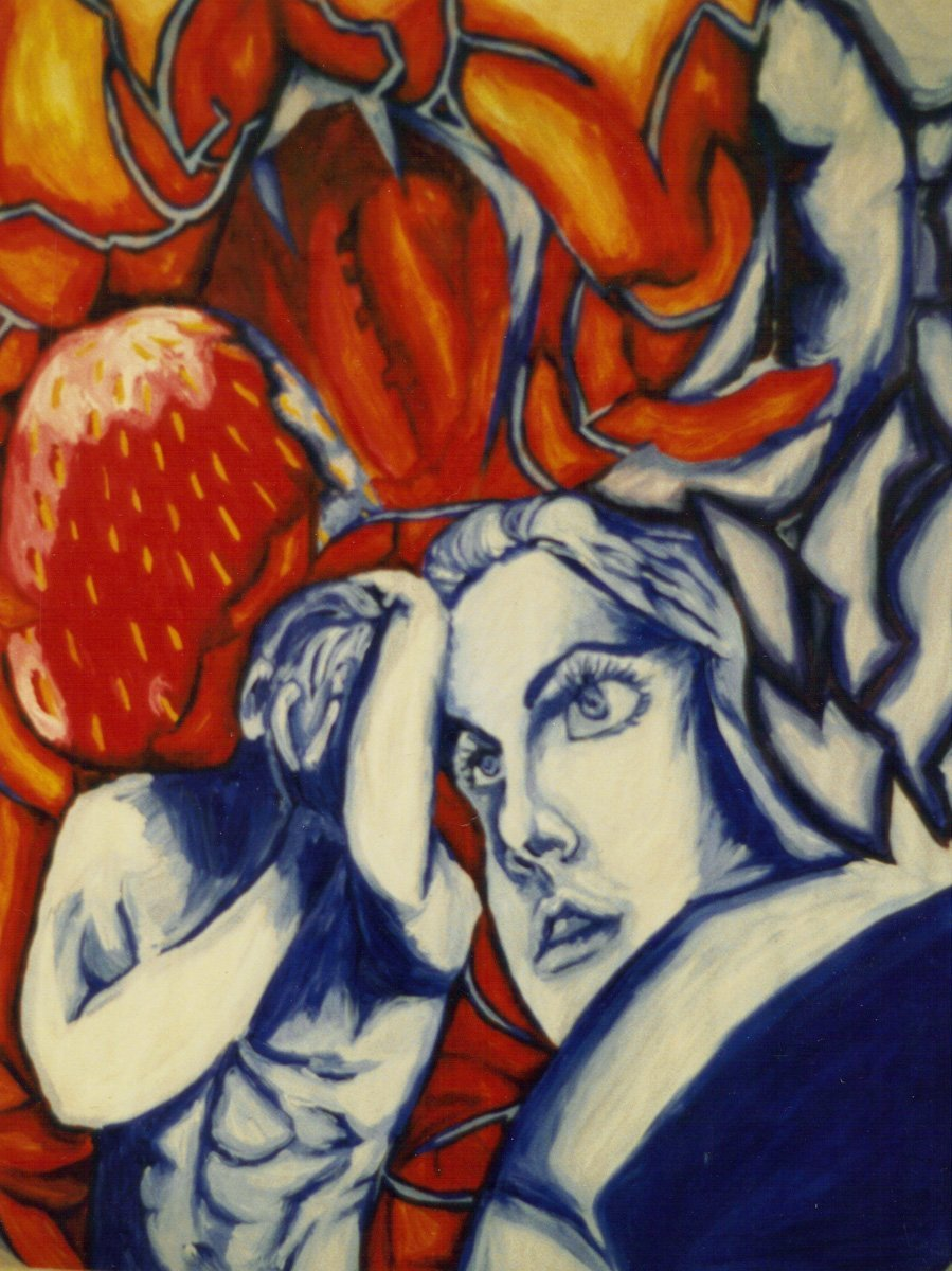 The image shows a piece of artwork by Jina Wallwork. It is a painting of two people. Stylistically this piece of artwork has links with surrealism.