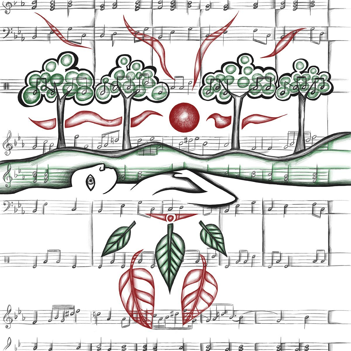 The image shows a piece of artwork by Jina Wallwork.It is a digital drawing of a person in nature surrounded by music. Stylistically it has links with expressionism.