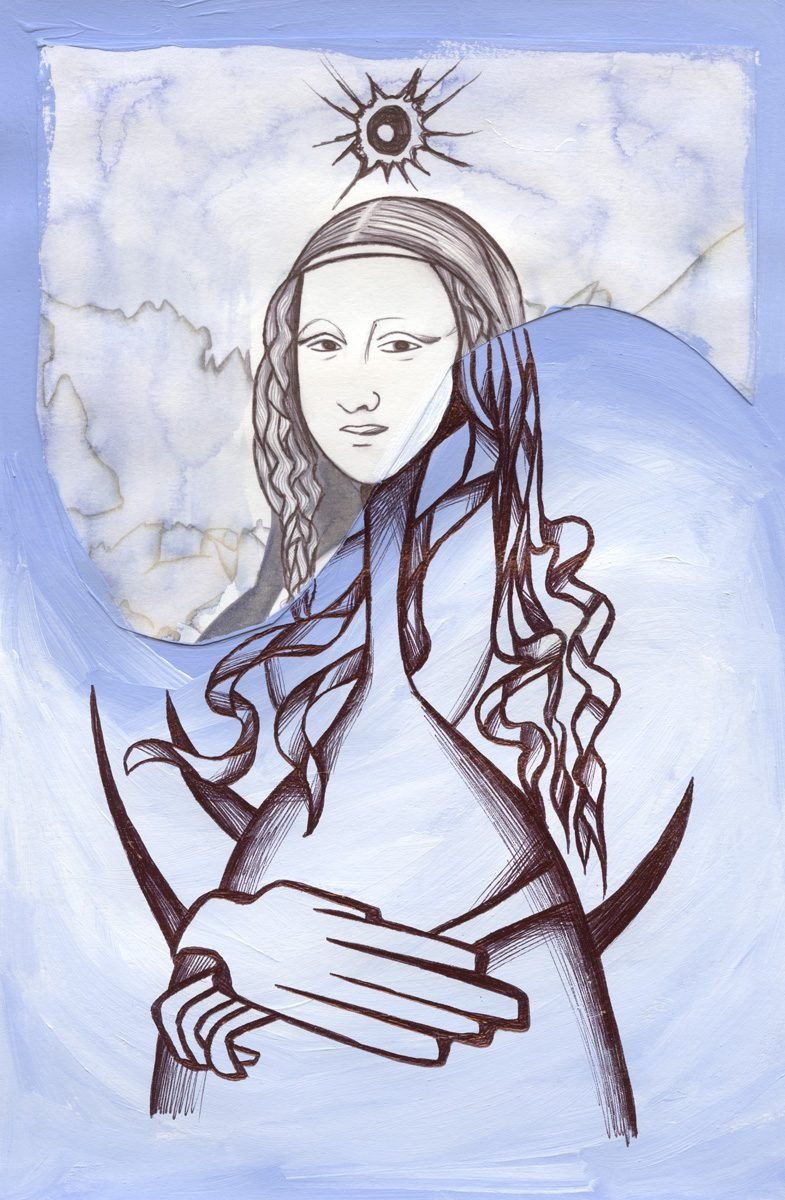 The image shows a piece of artwork by Jina Wallwork.It is a painting of the Mona Lisa originally by Leonardo Da Vinci. Stylistically this piece of artwork has links with expressionism.