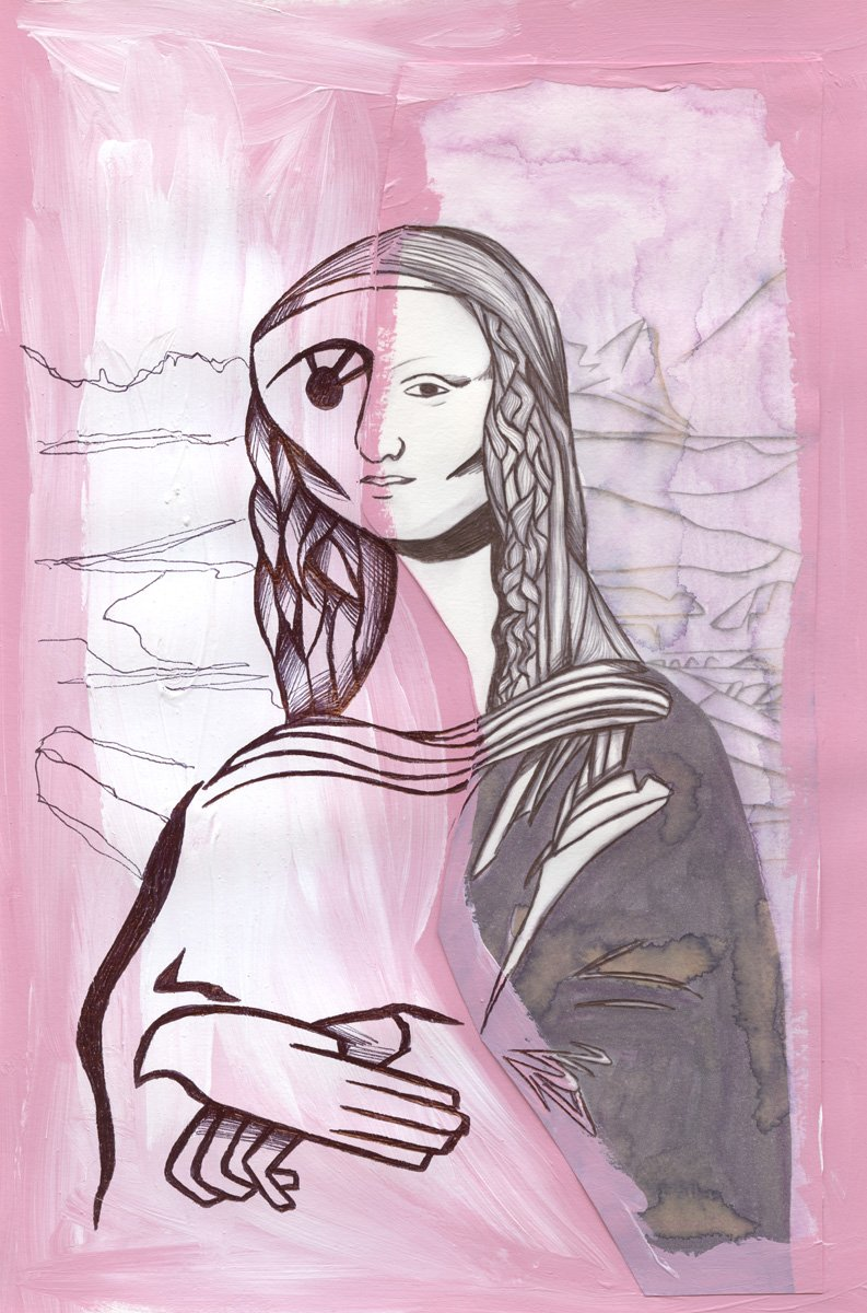The image shows a piece of artwork by Jina Wallwork.It is an ink and paint drawing of the Mona Lisa originally by Leonardo Da Vinci. Stylistically this piece of artwork has links with expressionism.