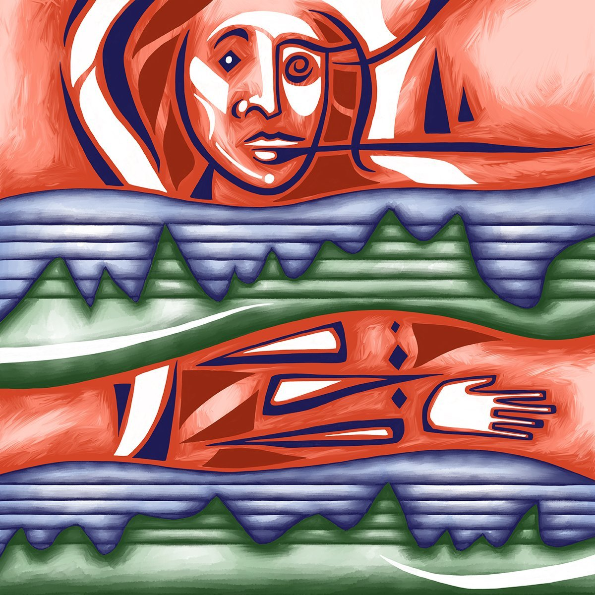 The image shows a piece of artwork by Jina Wallwork.It is a digital drawing of a person. Stylistically this piece of artwork has links with expressionism.