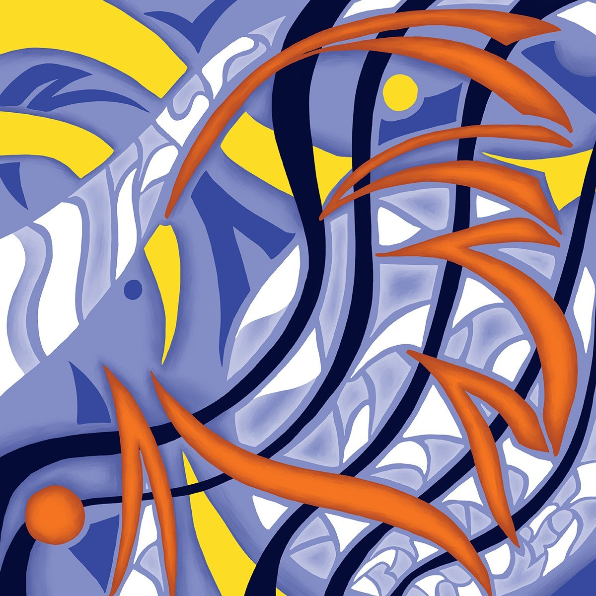 The image shows a piece of artwork by Jina Wallwork.It is a digital painting. Stylistically this piece of artwork has links with abstract art.