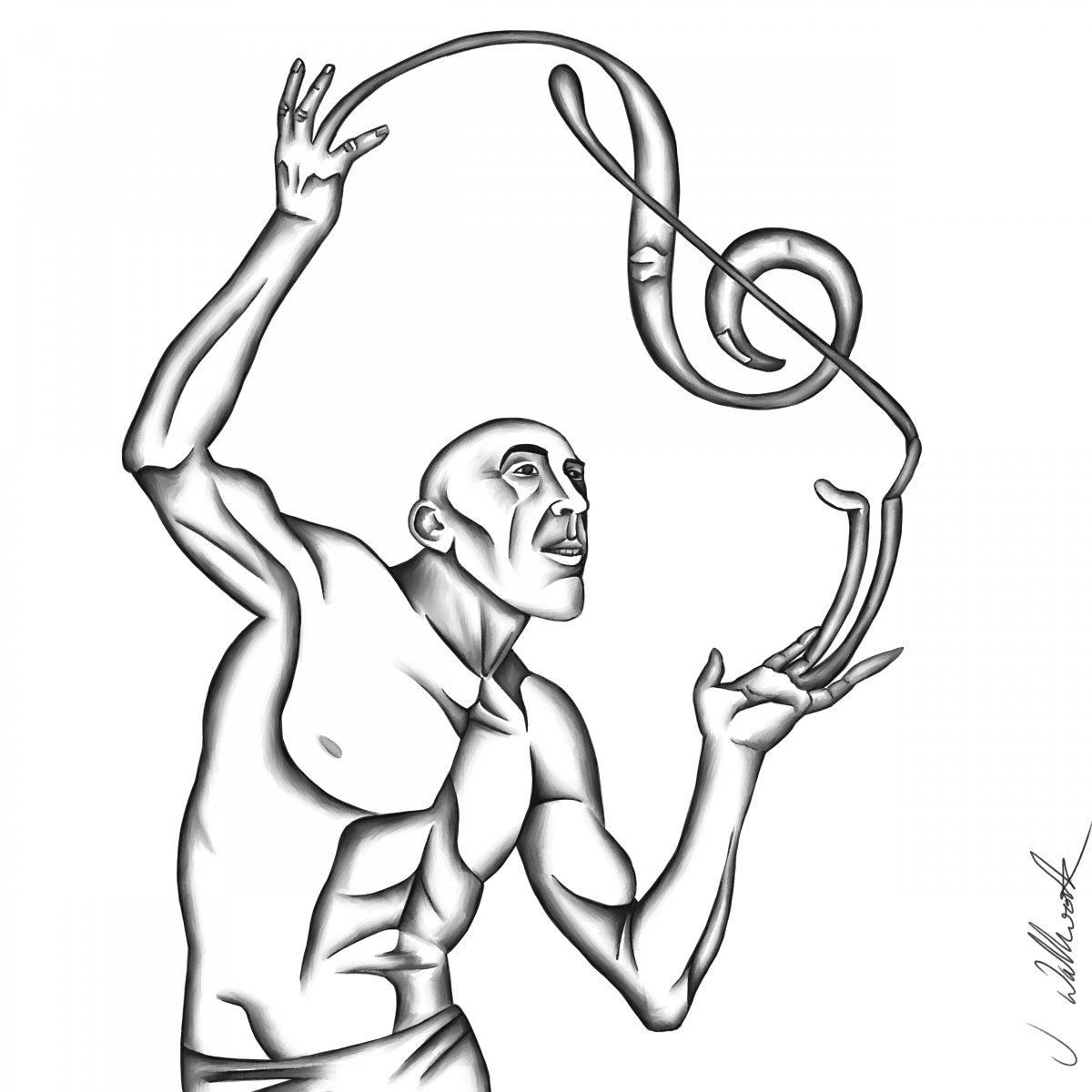 A man whose fingers swirl into the shape of a treble clef.