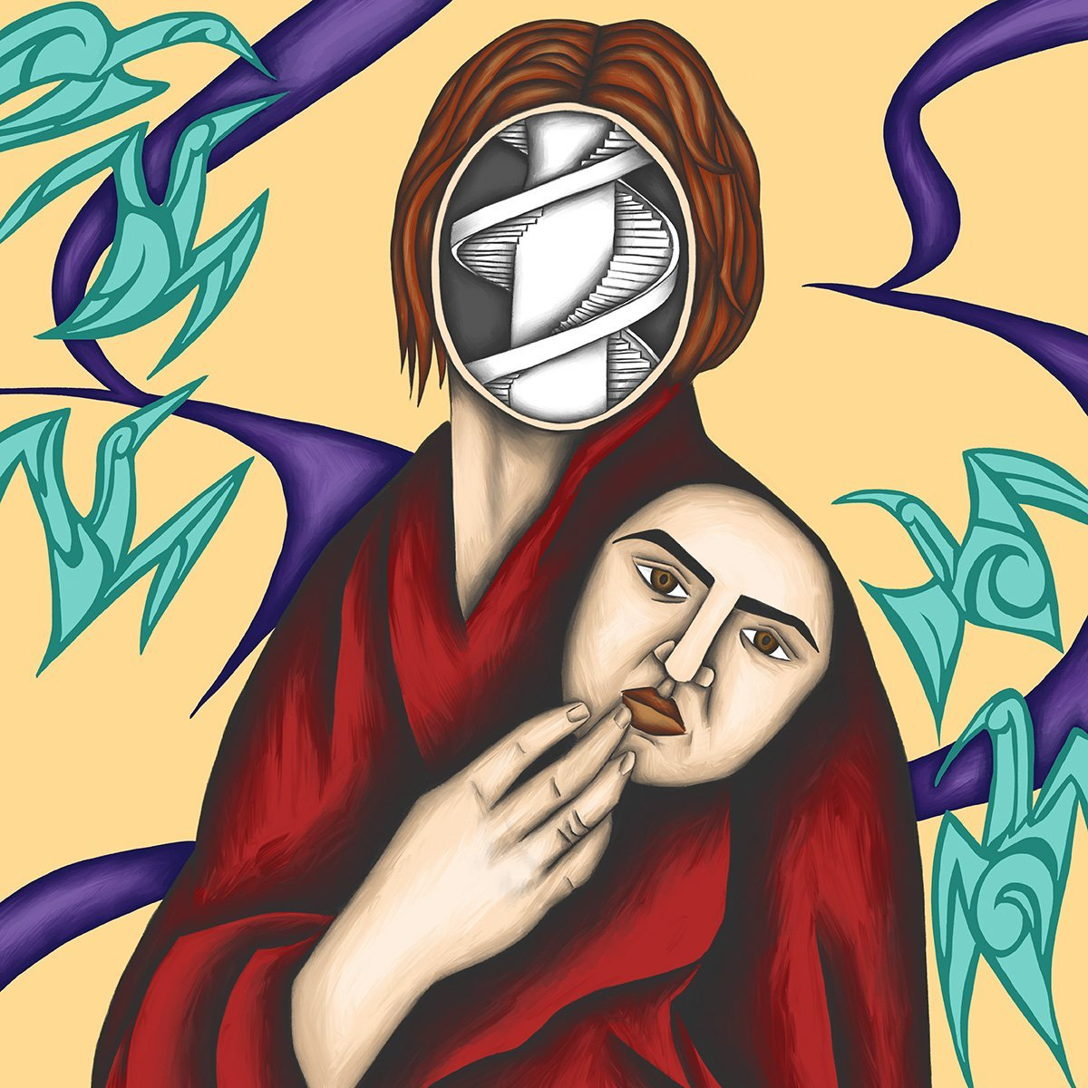 The image shows a piece of artwork by Jina Wallwork. It is a digital painting of a woman with a mask. Stylistically this piece of artwork has links with surrealism.