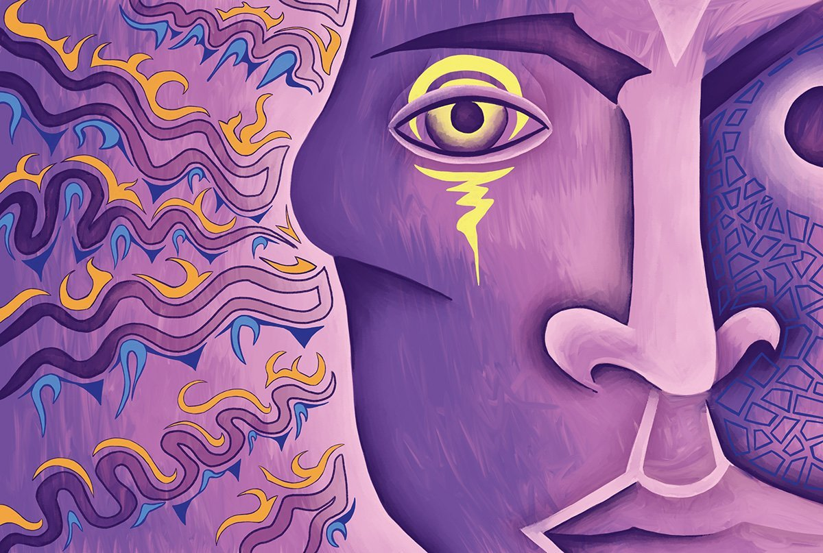 The image shows a piece of artwork by Jina Wallwork. It is a digital painting of a human face. Stylistically this piece of artwork has links with expressionism.