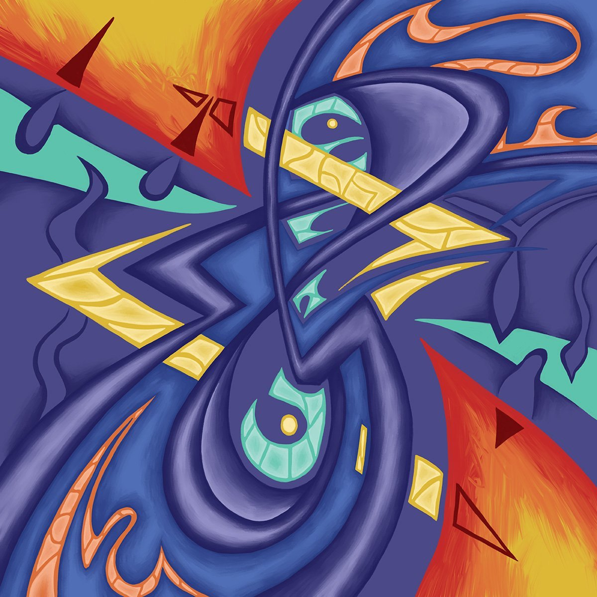 This is an abstract piece of artwork based on a handwritten treble clef by Bach. The piece has been created by Jina Wallwork.
