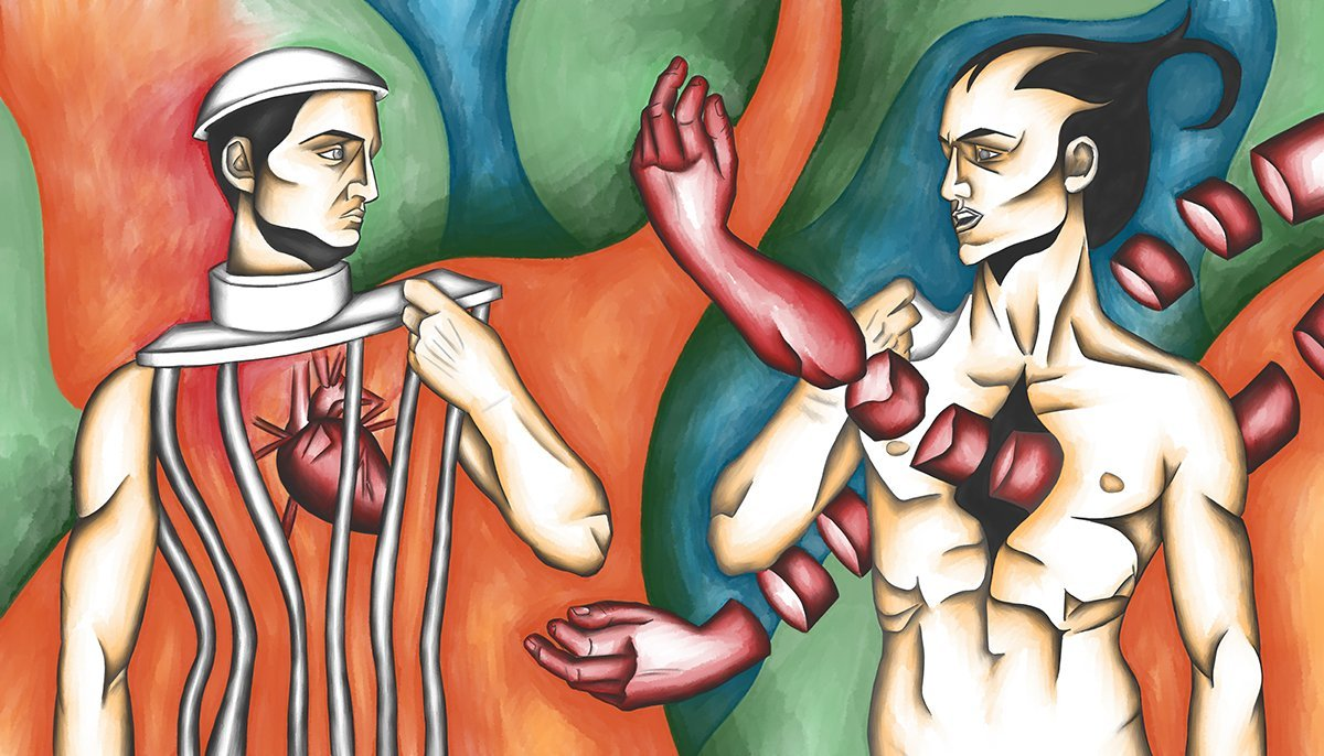 The image shows a piece of artwork by Jina Wallwork. It is a digital painting of people. One mans body is made of bars and the other man has an arm traveling through his chest. Stylistically this piece of artwork has links with surrealism.