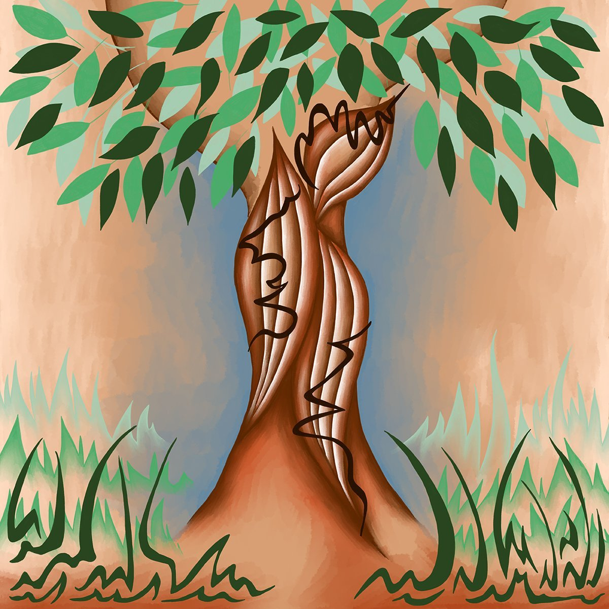 The image shows a piece of artwork by Jina Wallwork. It is a digital painting of a tree. Stylistically this piece of artwork has links with expressionism.