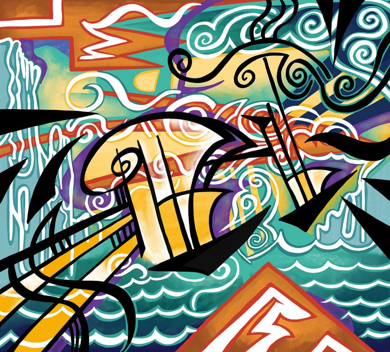 A piece of artwork showing two ships crossing the ocean. Stylistically this piece of artwork has links with abstract art.