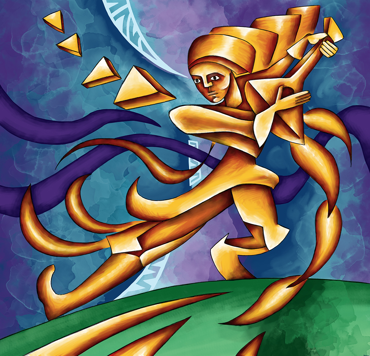 A piece of artwork showing a musician playing the balalaika stringed instrument. Stylistically this piece of artwork has links with expressionism.