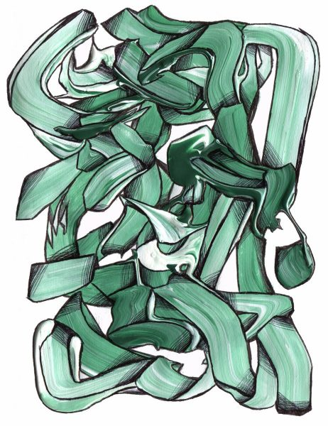 The image shows a piece of artwork by Jina Wallwork. It is a drawing of abstract subject matter. Stylistically this piece of artwork has links with abstract art.