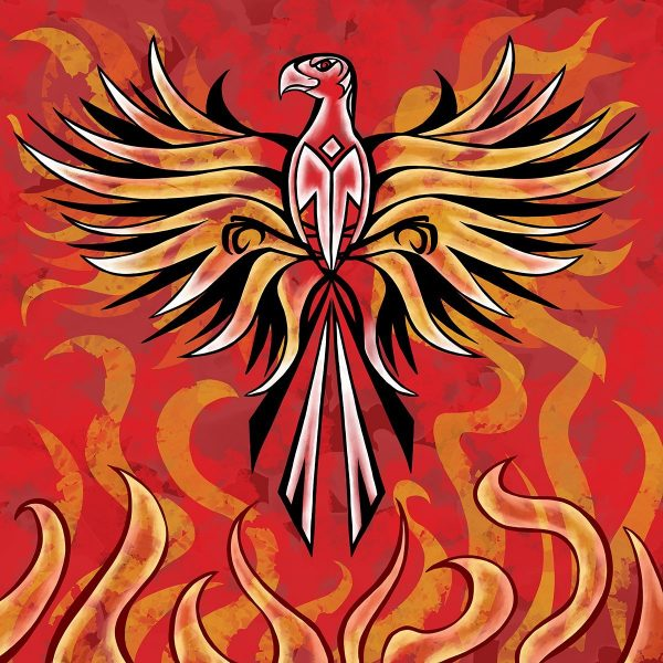 An image of a phoenix. Stylistically the image has links with expressionism.