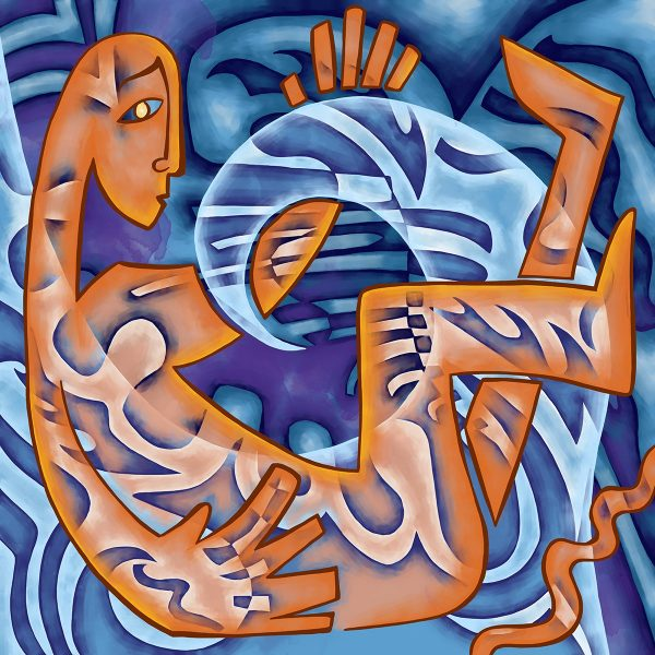 A piece of artwork showing a man being hit by a glass wave. Stylistically this piece of artwork has links with expressionism.