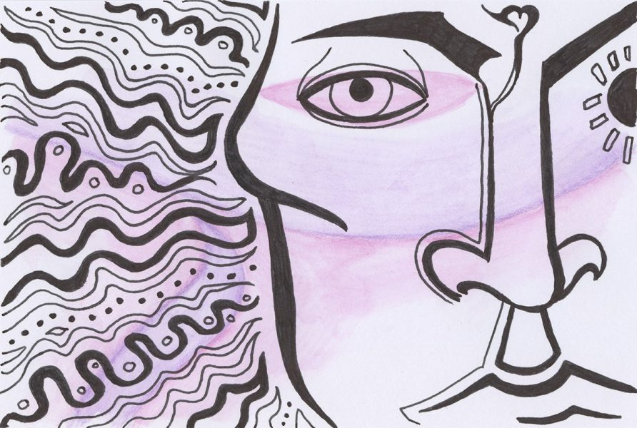 The image shows a piece of artwork by Jina Wallwork. It is an ink and watercolor drawing of a human face. Stylistically this piece of artwork has links with expressionism.