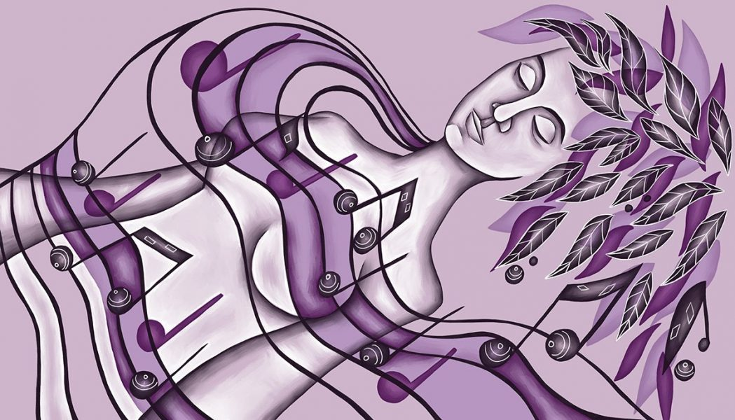 The image shows a piece of artwork by Jina Wallwork. It is a digital painting of a woman sleeping under a sheet of musical notes. Stylistically this piece of artwork has links with expressionism.