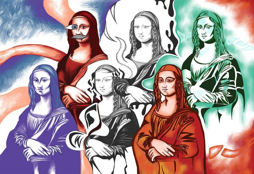 The image shows a piece of artwork by Jina Wallwork.It is a digital painting of 6 different Mona Lisa images combined. The Mona Lisa was originally by Leonardo Da Vinci. Stylistically this piece of artwork has links with expressionism.